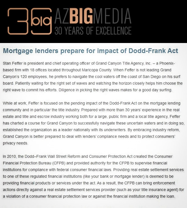 Mortgage lenders prepare for impact of Dodd-Frank Act