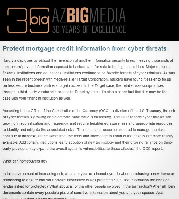 Protect mortgage credit information from cyber threats